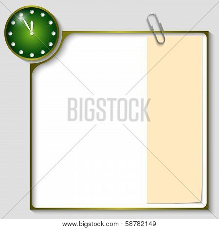 Green Frame For Text With A Clock And Notepaper