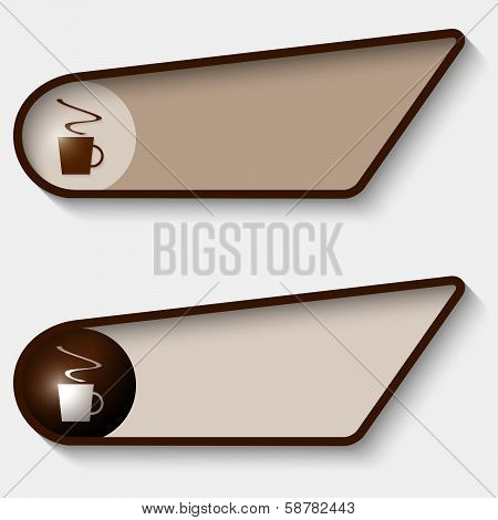 Set Of Two Brown Box For Text And Cup Of Coffee