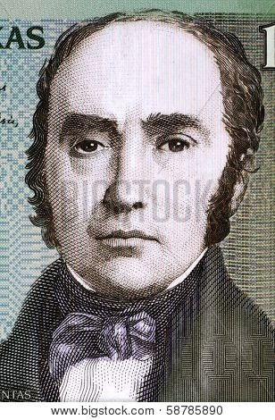 LITHUANIA - CIRCA 2007: Simonas Daukantas (1793-1864) on 100 Litu 2007 Banknote from Lithuania. Lithuanian writer, ethnographer and historian.