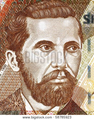 ALBANIA - CIRCA 2007: Naim Frasheri (1846-1900) on 200 Leke 2007 Banknote from Albania. Albanian poet and writer.