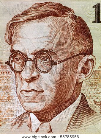 ISRAEL - CIRCA 1979: Ze'ev Jabotinsky (1880-1940) on 100 Sheqalim 1979 Banknote from Israel. Revisionist nationalist leader, author, orator and soldier.