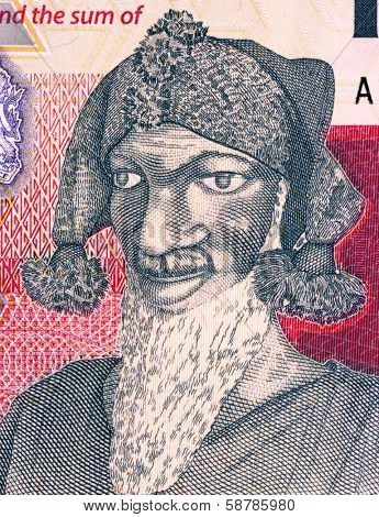 SIERRA LEONE - CIRCA 2010: Bai Bureh (1840-1908) on 1000 Leones 2010 Banknote from Sierra Leone. Sierra Leonean ruler and military strategist.