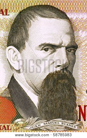 URUGUAY - CIRCA 1989: Juan Manuel Blanes (1830-1901) on 2000 Nuevos Pesos 1989 Banknote from Uruguay. Uruguayan painter of the Realist school.