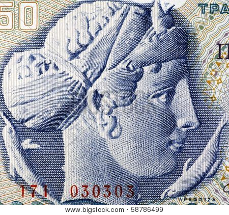 GREECE - CIRCA 1964: Arethusa on 50 Drachmai 1964 Banknote from Greece. Nereid nymph who became a fountain.