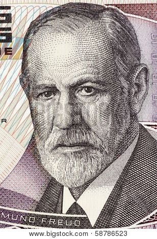 AUSTRIA - CIRCA 1986: Sigmund Freud (1856-1939) on 50 Shilling 1986 Banknote from Austria. Austrian neurologist who founded the discipline of psychoanalysis.