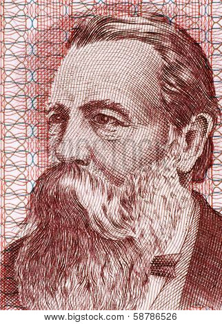 EAST GERMANY - CIRCA 1951: Friedrich Engels (1820-1895) on 50 Marks 1951 Banknote from East Germany. German social scientist, author, political theorist and philosopher.