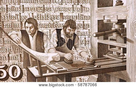 ICELAND - CIRCA 1981: 16th Century Printers at Work on 50 Kronur 1981 Banknote from Iceland.