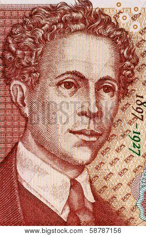 BULGARIA - CIRCA 1999: Ivan Milev (1897-1927) on 5 Leva 1999 Banknote from Bulgaria. Bulgarian painter and scenographer.