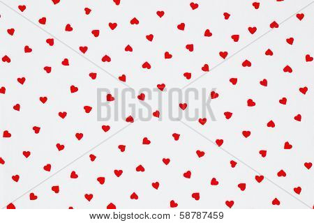 Red Heart Pattern On White Background