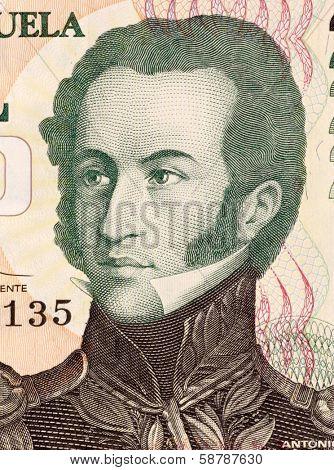 VENEZUELA - CIRCA 2000: Antonio Jose De Sucre (1795-1830) on 2000 Bolivares 1998 Banknote from Venezuela. Venezuelan independence leader.