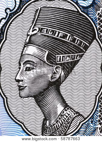 EGYPT - CIRCA 1998: Queen Nefertiti (1370-1330 BC) on 5 Piastres 1998 Banknote from Egypt. Great Royal Wife of the Egyptian Pharaoh Akhenaten.