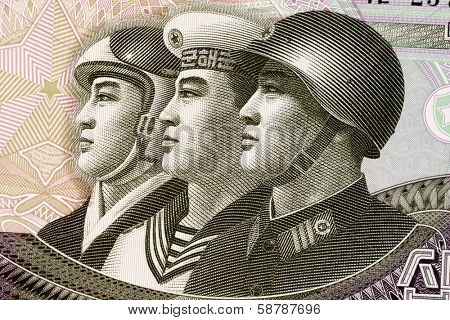 NORTH KOREA - CIRCA 2002: Armed Forces on 10 Won 2002 Banknote from North Korea.