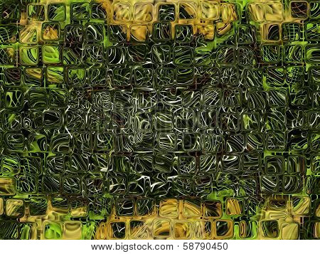 Futuristic Abstract Background Made From Green Transparent Cube Shape.