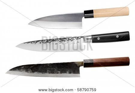 Traditional Japanese knives set isolated on white background.