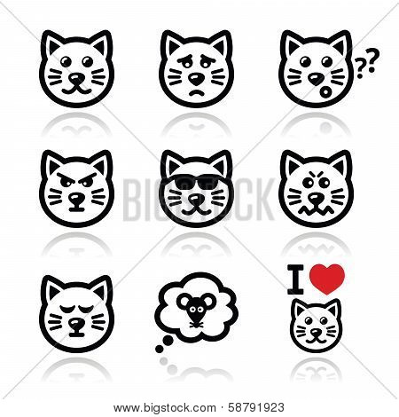cat icons set - happy, sad, angry isolated on white