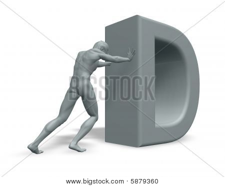 Man Pushes Letter D