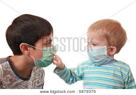 Children In Medical Masks