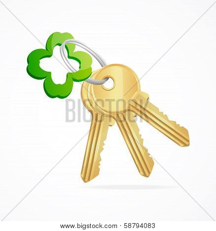 Gold keys and clover key chain