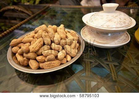 Tea And Peanut In Chengdu Tea House