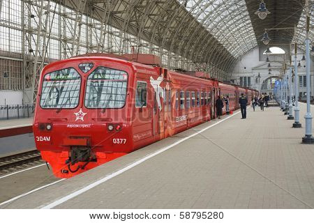 MOSCOW - MAY 03: Aeroexpress Train in Kiyevsky vokzal on May 03, 2013 in Moscow, Russia. Kiyevsky vokzal is one of the nine main railway stations of Moscow, Russia