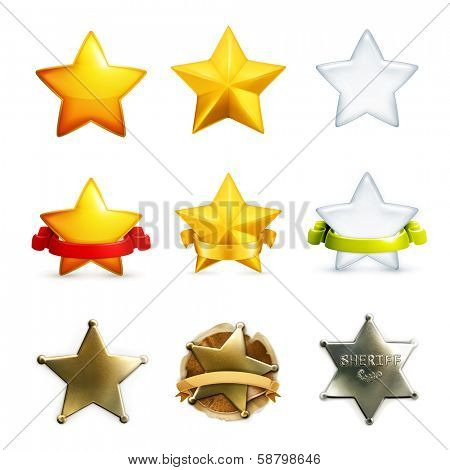 Stars icon set, vector