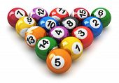 stock photo of snooker  - Set of color balls with numbers for american billiard game isolated on white background - JPG