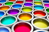 Color paint cans poster