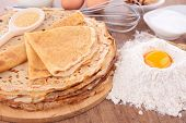 stock photo of crepes  - stack of crepes - JPG
