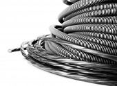 Black cables close-up isolated on white