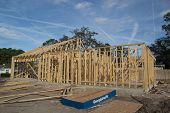 JACKSONVILLE, FLORIDA, USA-SEPTEMBER 11, 2013: A new home under construction in Jacksonville. New ho