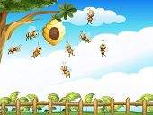 stock photo of bee cartoon  - Illustration of a tree with a beehive and a group of bees - JPG