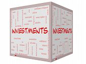 Investments Word Cloud Concept On A 3D Cube Whiteboard