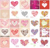 Greeting card with floral heart shapes
