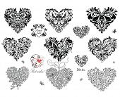 stock photo of adornment  - Black decorative hearts - JPG