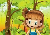 foto of hollow log  - Illustration of a cute little girl in the forest - JPG