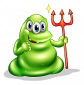 Illustration of a greenslime monster holding the sign of death on a white background