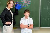 Teacher motivating school student in front of the board