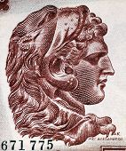 GREECE - CIRCA 1956: Alexander The Great (356-323BC) on 1000 Drachmai 1956 Banknote from Greece. Cre