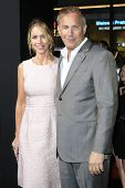 LOS ANGELES - JAN 15: Christine Baumgartner, Kevin Costner at the premiere of Paramount Pictures' 'J