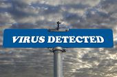 Virus detected road sign