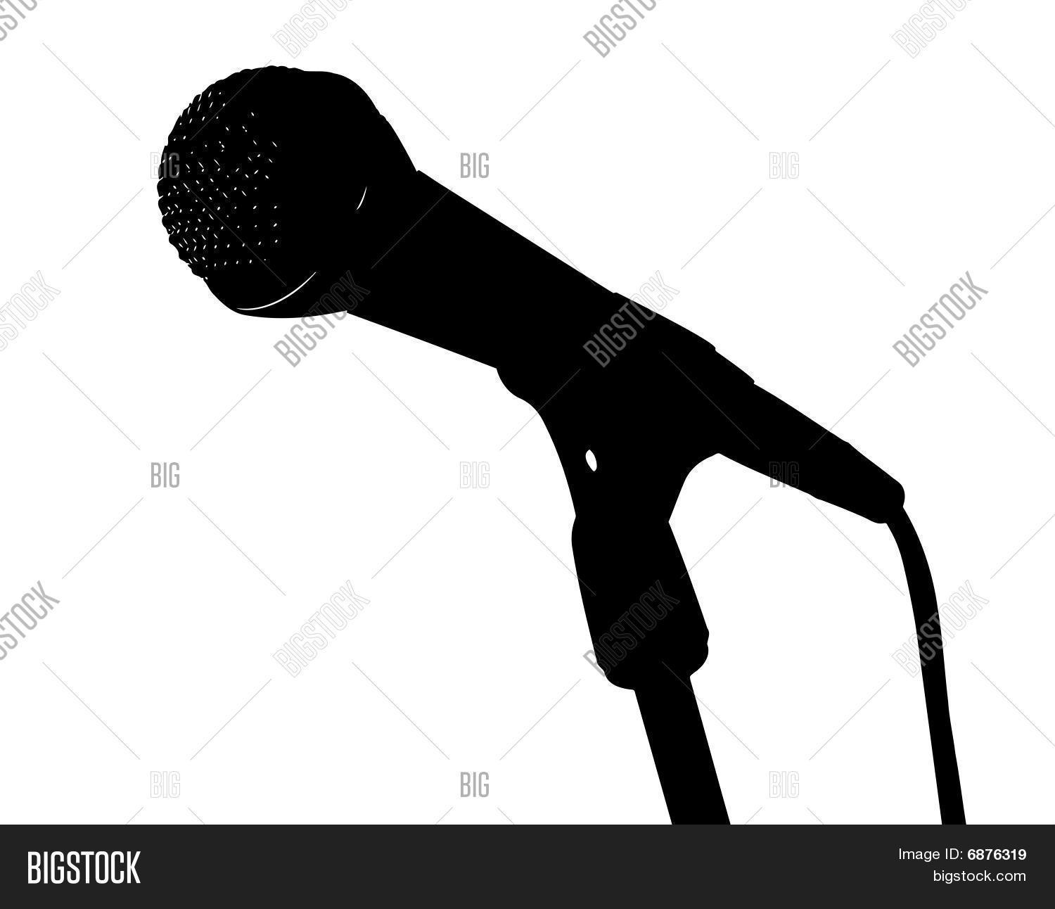 Vector silhouette of microphone on stand Stock Vector ...