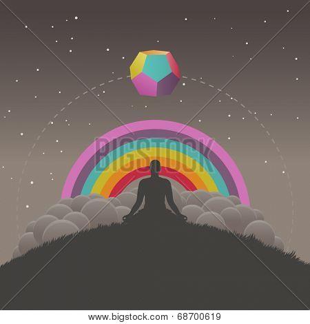Meditation, vector illustration