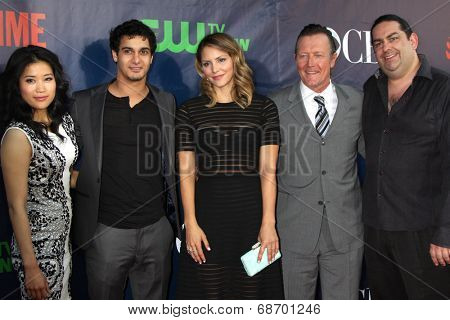 LOS ANGELES - JUL 17:  Jadyn Wong, Elyes Gabel, Katharine McPhee, Robert Patrick, Walter O'Brien at the CBS TCA July 2014 Party at the Pacific Design Center on July 17, 2014 in West Hollywood, CA