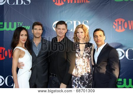 LOS ANGELES - JUL 17:  Maggie Q, Dylan McDermott, Kevin Williamson, ?Mariana Klaveno, Victor Rasuk at the CBS TCA July 2014 Party at the Pacific Design Center on July 17, 2014 in West Hollywood, CA