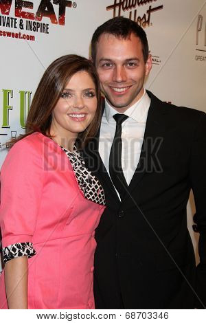 LOS ANGELES - JUL 16:  Jen Lilley, husband Jason Wayne at the ESPYs AfterShow Dinner Party at the Palm Resturant on July 16, 2014 in Los Angeles, CA