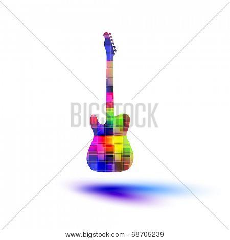 Color guitar, grunge music   easy all editable