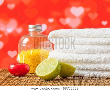 Spa Massage Border With Towel Stacked Red Candle And Lime For Valentine Day