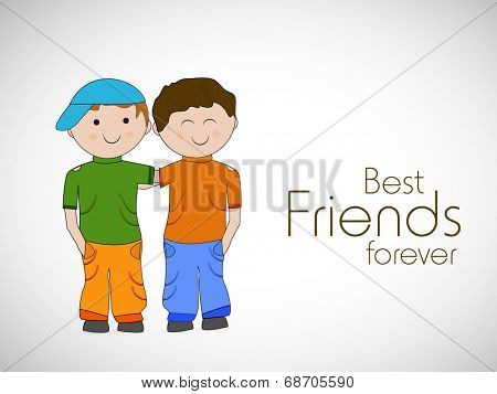 Cute little boys on grey background for Happy Friendship Day celebrations.