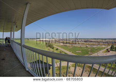 NORTH PLATTE, NEBRASKA, JULY 14, 2014: Fisheye view of Union Pacific's Bailey rail yard from Golden Spike Tower. The world's largest train yard is handling 10,000 cars each day.
