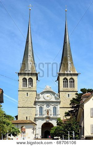 LUCERN, SWITZERLAND - JULY 2, 2014: The Church of St. Leodegar, Lucern. St. Leodegar was founded in the mid-8th century, part of the monastery which in turn founded Lucern.
